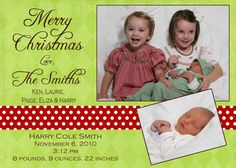 Christmas birth announcement   photo Christmas Card by peachymommy, $15.00