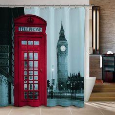 Big Ben & London Telephone Booth Fabric Shower Curtain