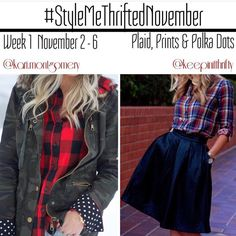Starts today! Join in with Plaid - Prints & Polka Dots!! Sooo excited to see what y'all put together! ❤️ Style is so much more than a brand, size or price. I'm so excited to announce #stylemethriftednovember - a different kind of style challenge. The goal of StyleMeThrifted is to inspire & connect through our own personal style & budget. Style is about the woman wearing the clothes, not the tags on their clothes. Share what you wear from the thrift finds, clearan