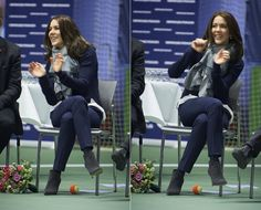 """Crown Princess Mary of Denmark attended the """"Childrens Aid Day"""" tennis-events with Caroline Wozniacki in Frederiksberg, Denmark on November 24, 2015"""