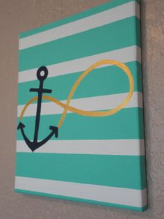 Anchor + Infinity Symbol + Stripe Wall Art