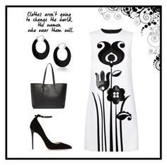 """""""Black and white floral"""" by emilylanning on Polyvore featuring Victoria, Victoria Beckham, Bling Jewelry, Jimmy Choo and Yves Saint Laurent"""