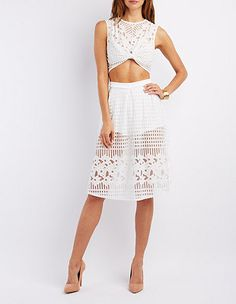 43fc54fe8f8cd7 Floral Mesh Crop Top   Skirt Hook-Up  Charlotte Russe · Floral Two PieceTwo  ...