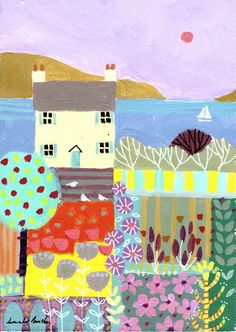 Signed Original Painting Acrylic on Board -Cottage by the Sea- by Annabel Burton