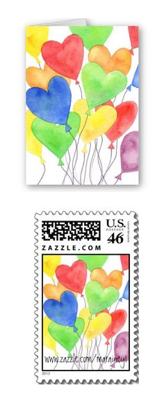 Heart balloons!  Card and matching postage stamp.  www.zazzle.com/marainey1