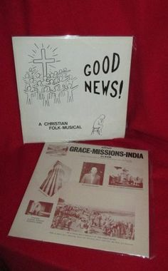 "Two Christian Theme Vintage LP Albums: ""Grace Missions, India"" and ""Good News Christian Folk Musical"" by trackerjax on Etsy"