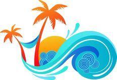 Palm Trees And Ocean Wave Royalty Free Stock Photos Orillas Free Y Trajes De Bano