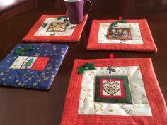 Sotto-tazze natalizie fatte con lavorazione patchwork.ok