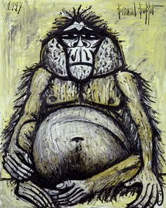 Bernard Buffet, Orang-outan femelle (Female orang-utan), 1997, Oil on canvas/huile sur toile, 162 x 130 cm, Courtesy Galerie Maurice Garnier. Description from arttattler.com. I searched for this on bing.com/images
