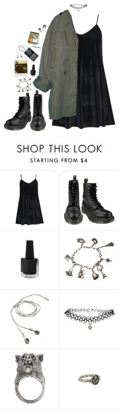 """stranger things have happened here"" by dahmergirl ❤ liked on Polyvore featuring Boohoo, Dr. Martens, Rimmel, Rubie's Costume Co., Polaroid, ASOS, Gathering Eye, Pyrrha, black and Dark"