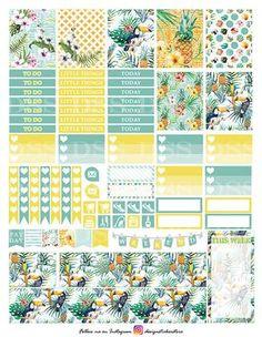 Tropical Summer Planner Stickers/Erin Condren Planner Stickers/Printable…