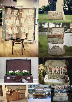 vintage suitcase re-use ~~ vintage-suitcase-wedding-decorations-mood-board, I displayed my wedding favors in one for our wedding and used the top half do display pictures of us both as kids x Vintage Suitcase Wedding, Vintage Wedding Cards, Card Box Wedding, Vintage Weddings, Vintage Suitcase Decor, Lace Weddings, Vintage Suitcases, Vintage Luggage, Vintage Trunks