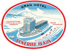 Vintage hotel luggage label from Tenerife