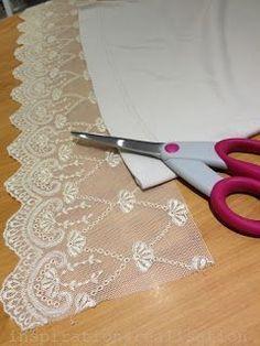 DIY: adding lace to lengthen a T-shirt * absolut, sie lässt die seiten offen bei nicht-elastischem, auch eine variante