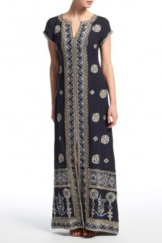 Hesperia Hand Embellished Linen Maxi Dress   | Calypso St. Barth