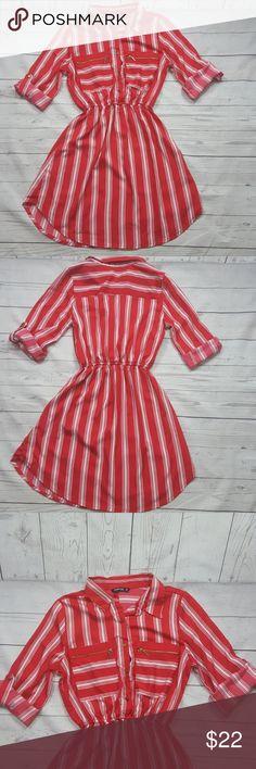 "Indulge curved hem 3/4 sleeves dress Indulge curved hem 3/4 sleeves dress Button down, elastic waist band, zippered pockets,light weight, unlined Armpit to armpit:17 1/2"" Length across waist:9 1/2"" Waist to hem:31"" Indulge  Dresses Mini"