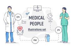 Medical people illustration set Graphics **Medical people illustration set**Six flat linear vector illustrations of medical personal in uni by svetabelaya