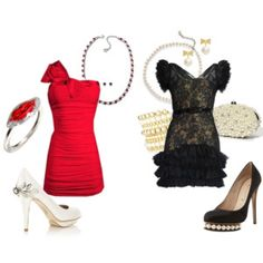 Things that make me feel better: Red and Silver girls night out style AND Lace & Pearl fine dining style <3