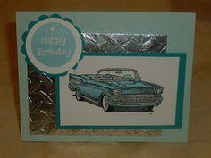 Home made birthday card for men | Baby Blue 57 Chevy convertible Birthday Card by Raccoon1 on Etsy
