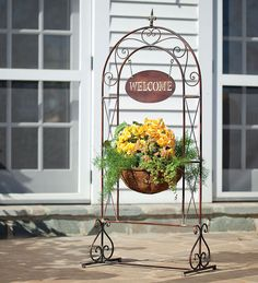 Metal Scrollwork Welcome Sign Basket Planter With Bell Accent - Plow & Hearth