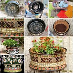 Here are easy-to-make garden mosaic crafts add color and beauty to the garden. You will love DIY garden mosaic projects that are both practical and artistic. Mosaic Planters, Tire Planters, Mosaic Flower Pots, Flower Planters, Garden Mosaics, Mosaic Crafts, Mosaic Projects, Garden Projects, Mosaic Ideas