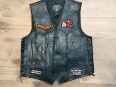 Lady Biker Leather Vest With Patches Harley Davidson