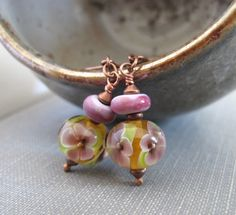 Copper Earrings Flower Glass Glass Earrings Flower by fiveforty, $26.00