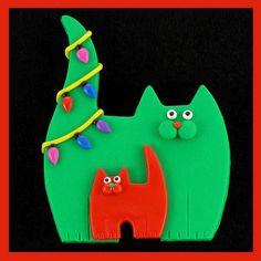 Green Kitty Cat, Red Kitten & Christmas Lights Pin by artsandcats, via Flickr