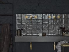 This exclusive bathroom range from Bert & May features brushed glazed tiles and a concrete basin Industrial Bathroom, Bathroom Interior, Modern Bathroom, Bathroom Black, White Bathrooms, Luxury Bathrooms, Master Bathrooms, Minimalist Bathroom, Dream Bathrooms