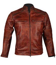 Men's Vintage Cafe Racer Brown Biker Leather Jacket at Amazon Men's Clothing store: