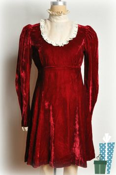 Vintage early 70s Red Crushed Velvet Empire Dress w by reLoves, $60.00 #mysocalledlife #angelachase #babydoll #reloves #fuzzybellas #velvet #red