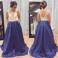 Glamorous A-Line V-Neck Sleeveless Long Prom/Evening Dress With Lace