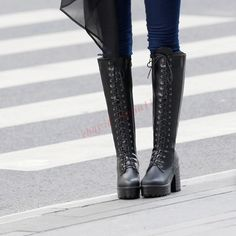 Punk Womens Lace Up Ridding Chunky Block Heel Knee High Boots Platfrom Leather