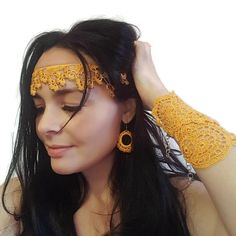 Beaded hippie forehead band, Handmade silk necklace, Gift Ideas for Women, Boho Chic - Lombn Sites Crochet Beaded Necklace, Lace Bracelet, Lace Necklace, Necklace Lengths, Flower Necklace, Hippie Chic, Boho Chic, Bohemian, Chic Band