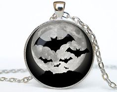 Halloween necklace Bat pendant Bat necklace Bat jewelry Trick or Treat Halloween Pendant Halloween  jewelry black