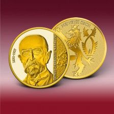 """Pamětní ražba """"Tomáš Garrigue Masaryk"""" ve zlatě"""