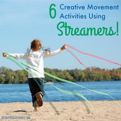 Art therapy activities for kids The Inspired Treehouse - 6 activities that encourage strengthening, direction ing, spatial awareness amp; coordination using streamers and fun music for motivation. Dance Activities For Kids, Gross Motor Activities, Art Therapy Activities, Preschool Activities, Creative Activities, Movement Preschool, Preschool Music, Physical Education Games, Physical Activities