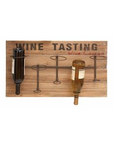 Wooden Wine Rack Wall Decor - Wall decor offers handy iron alloy supports that cleverly hang bottles upside down. Made with reclaimed wood planks and mounted iron supports. This simple wine storage decor works best in the kitchen or dining room, but can also be a nice addition at the end of a hallway or the bottom of a staircase. With 5 bottle capacity, just enough to store your very favorite bottles and to add a lovely rustic touch to your home.