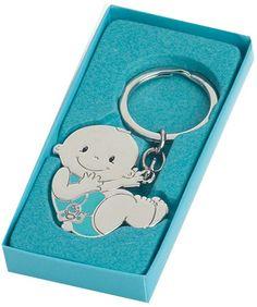 Detalles y recuerdos para invitados bautizo.  Llavero Bebé niño chupete. Se sirve presentado con caja de cartón de regalo a tono.