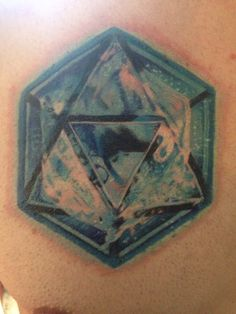 Tattoo. Geometric symbol for water. Water element tattoo turned out great. Icosahedron.