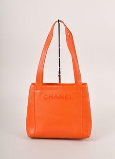"Orange Caviar Leather ""CHANEL"" Stitched Tote Bag"
