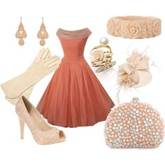 Vintage Salmon., created by joelle-lucas on Polyvore....this outfit is STUNNING!!!...really classy...