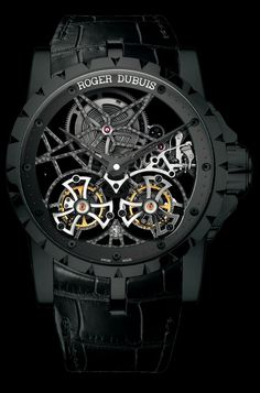 Excalibur Skeleton Double Flying Tourbillon in black titanium, Roger #Dubuis #watch.