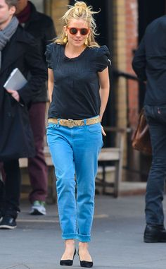 Blue & Blue from Sienna Miller's Street Style  This is how messy-chic is done! Sienna pairs a navy top with lapis pants and orange-rimmed sunnies.