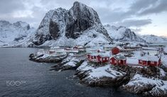 Red Cabins in Lofoten - The red sea cabins (rorbu) at Hamnøy outside Reine in Lofoten, Norway. Lofoten, Red Sea, Norway, Mount Everest, The Outsiders, Mountains, Instagram, Cabins, Nature