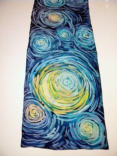 Foulard en soie peinte à la main à la main peint ciel étoilé en soie peinte f0bcb8cb304