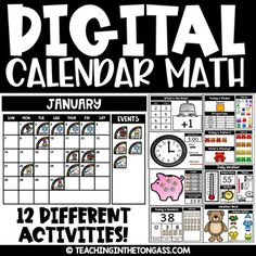 Digital Calendar Math is an extension of my Digital Math Centers and is perfect for the modern teacher! These digital activities can be used all year long! 1st Grade Calendar, Kindergarten Calendar, Calendar Activities, Classroom Calendar, School Calendar, Math Classroom, In Kindergarten, Classroom Ideas, Flipped Classroom