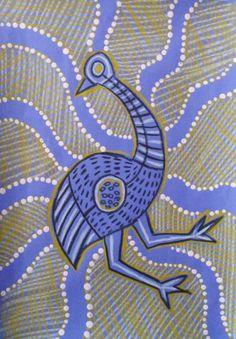 Dream Painters: Australian Native Animals: Emu in the Indigenous Art Style, artist unknown Aboriginal Art Animals, Aboriginal Dot Art, Aboriginal Painting, Dot Painting, Aboriginal Culture, Indigenous Australian Art, Indigenous Art, Australian Animals, Kunst Der Aborigines