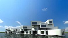 Floating apartment Design by Waterstudio in Westland, Netherlands.  Living on the water