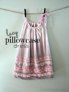 "♥♥♥ sew gorgeous ""House Of Mouse Pillowcase Dress With Lace"" by Kimberley (Kimbo) West from   A Girl And A Glue Gun"" Blog.  ♥♥♥"